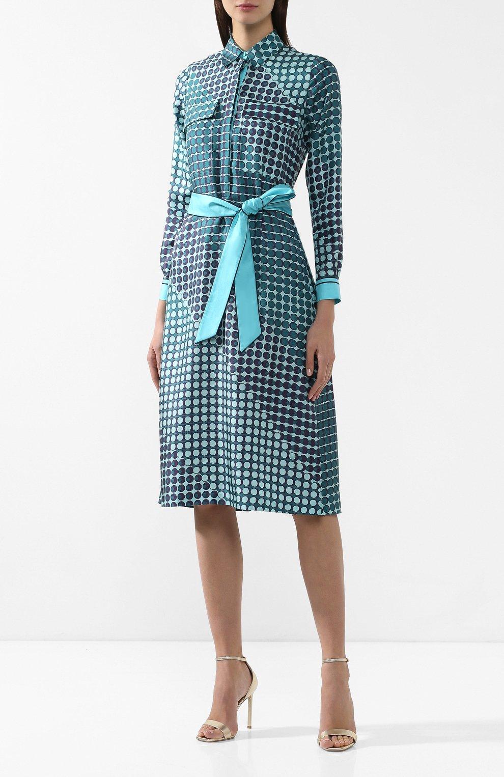 Шелковое платье Loro Piana бирюзовое | Фото №3