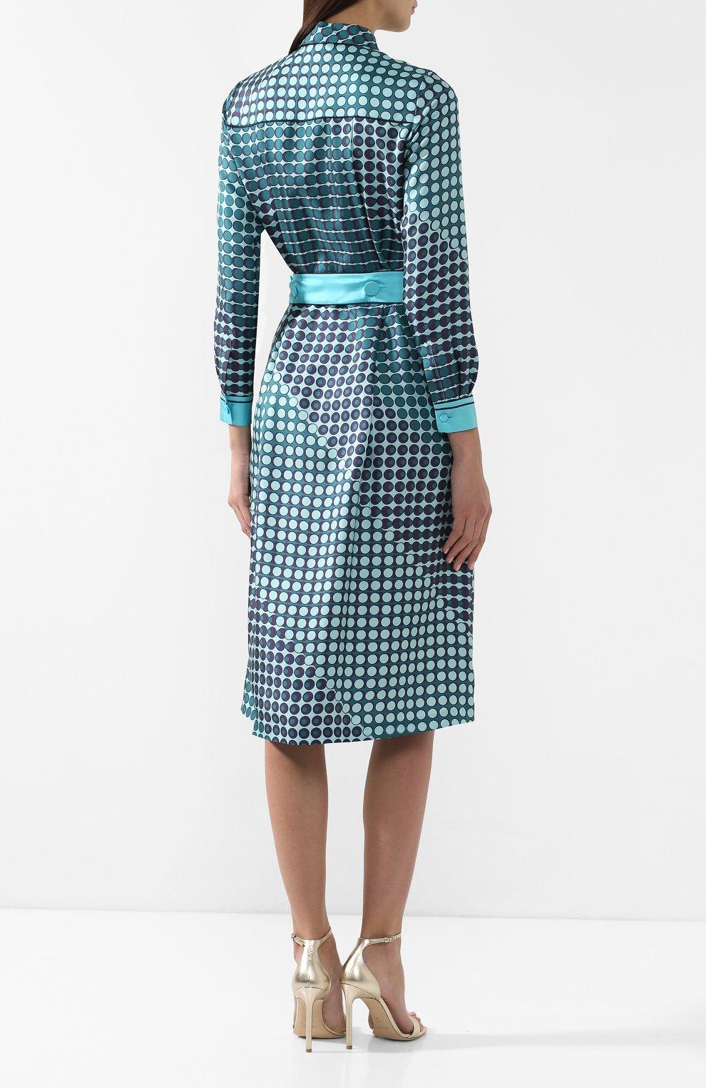 Шелковое платье Loro Piana бирюзовое | Фото №4