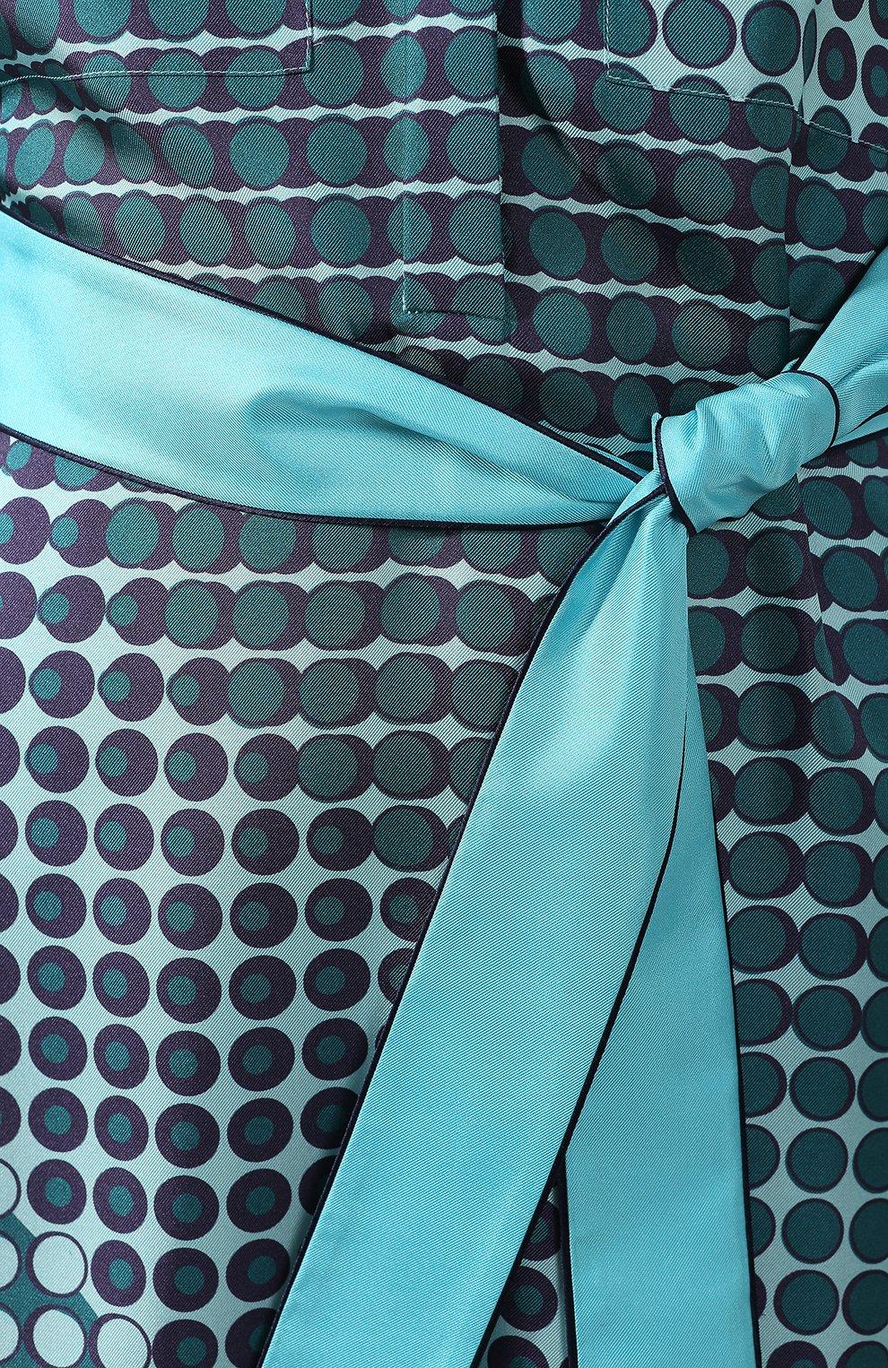 Шелковое платье Loro Piana бирюзовое | Фото №5