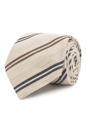 Мужской галстук из смеси хлопка и льна BRUNELLO CUCINELLI светло-бежевого цвета, арт. MQ8000039   Фото 1