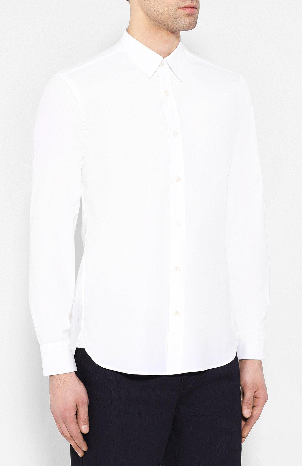 2bccd65311b Мужская белая хлопковая рубашка BURBERRY — купить за 20300 руб. в ...