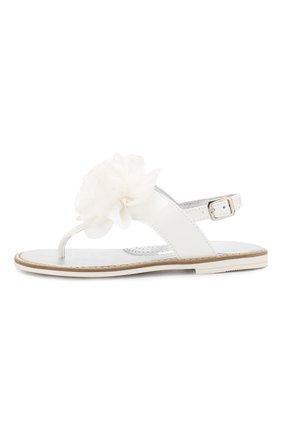 Детские кожаные сандалии MONNALISA белого цвета, арт. 8C3027 | Фото 2