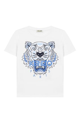 Детский хлопковая футболка KENZO белого цвета, арт. KN10738-BB/6M-18M | Фото 1