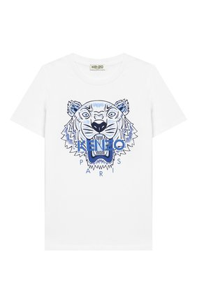 Детский хлопковая футболка KENZO белого цвета, арт. KN10738/8A-12A | Фото 1
