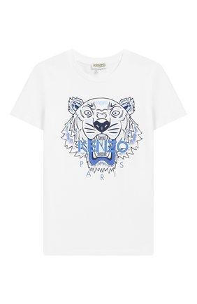 Детский хлопковая футболка KENZO белого цвета, арт. KN10738/3A-6A | Фото 1