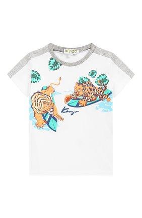 Детский хлопковая футболка KENZO белого цвета, арт. KN10628-BB/6M-18M | Фото 1