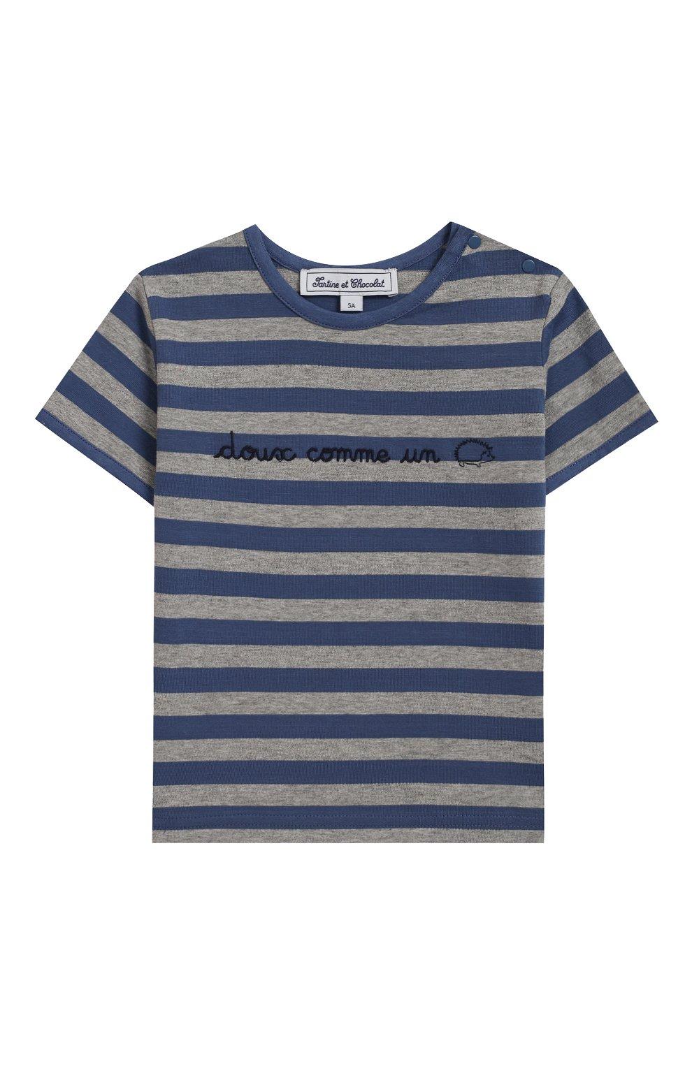 Детский хлопковая футболка TARTINE ET CHOCOLAT синего цвета, арт. TN10041/4A-6A | Фото 1