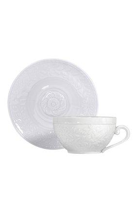 Мужская чашка для завтрака с блюдцем louvre BERNARDAUD белого цвета, арт. 0542/76 | Фото 1