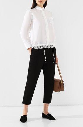 Женская рубашка в полоску SACAI белого цвета, арт. SCW-008 | Фото 2