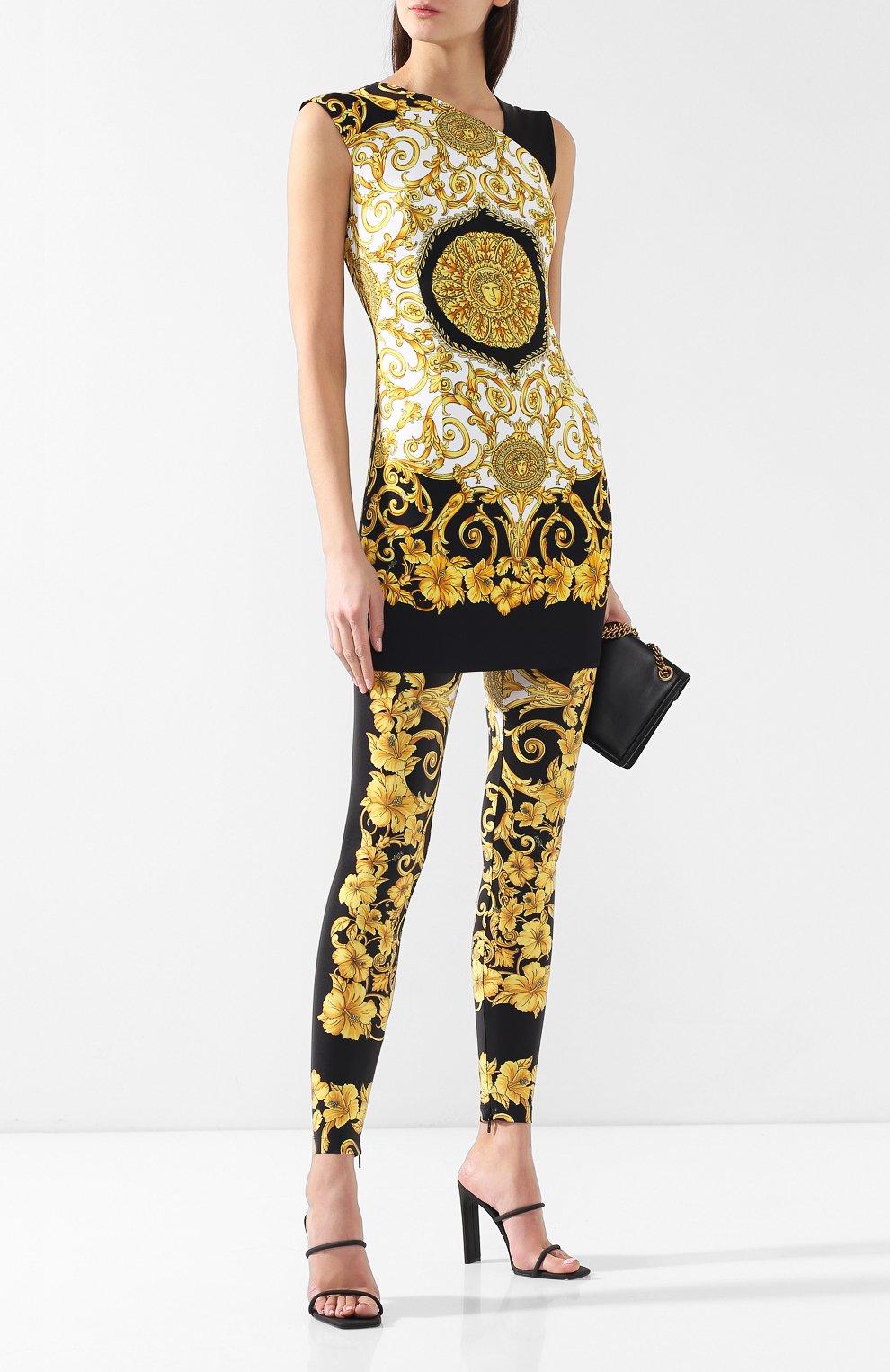 Леггинсы с принтом Versace черные | Фото №2