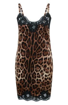 Женская шелковая сорочка DOLCE & GABBANA коричневого цвета, арт. 06A00T/FSAXY | Фото 1