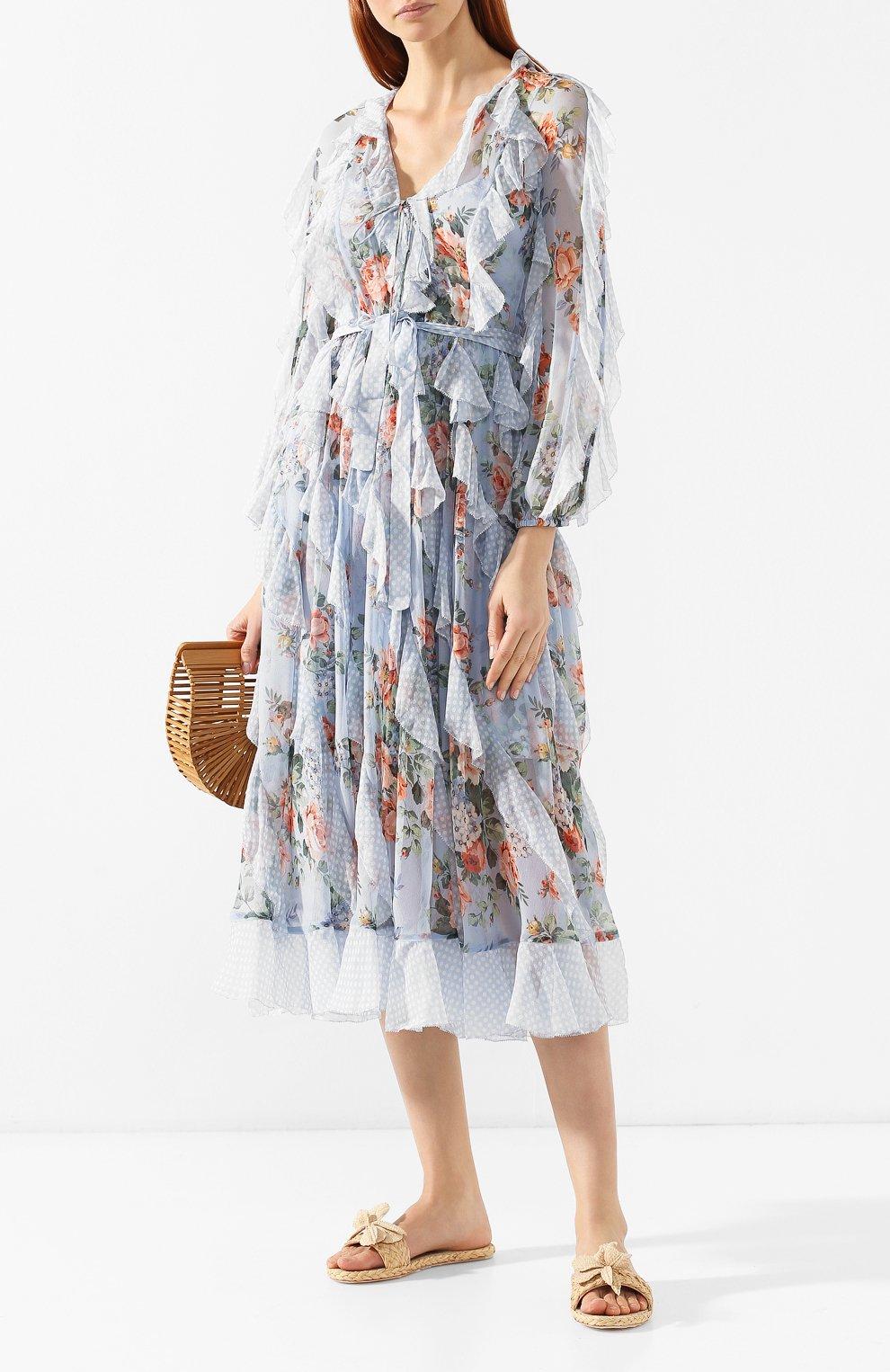 Шелковое платье Zimmermann голубое | Фото №2