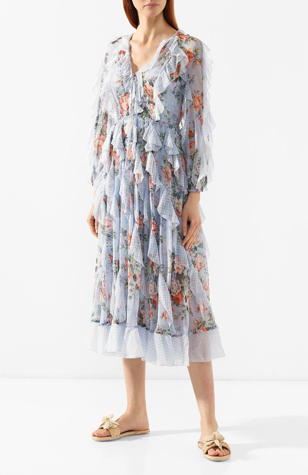 Шелковое платье Zimmermann голубое | Фото №3