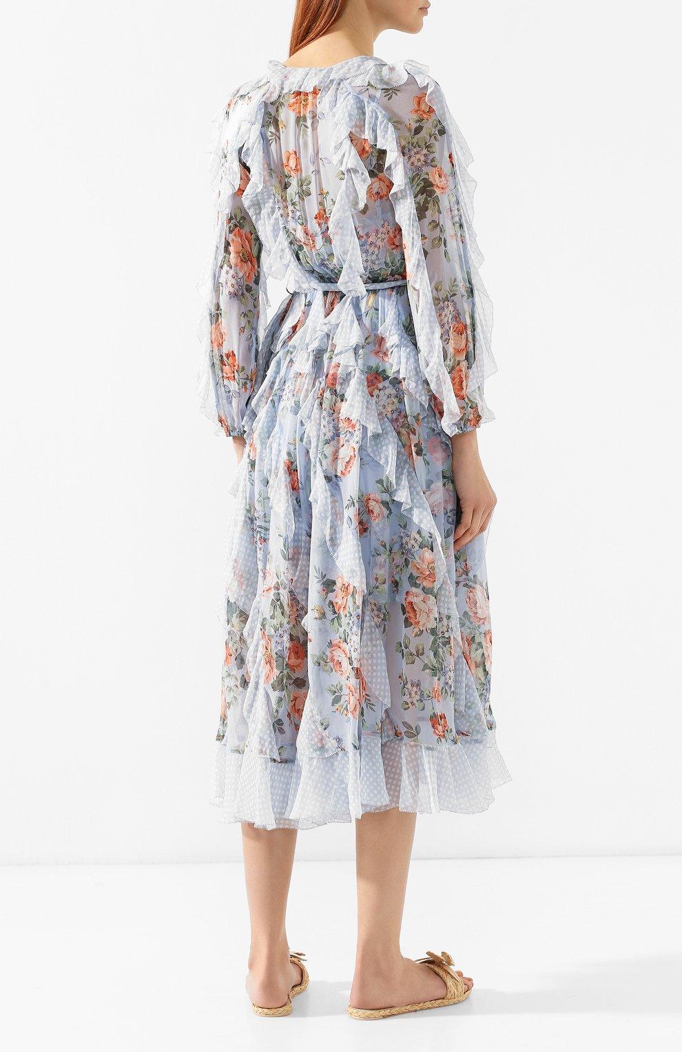 Шелковое платье Zimmermann голубое | Фото №4