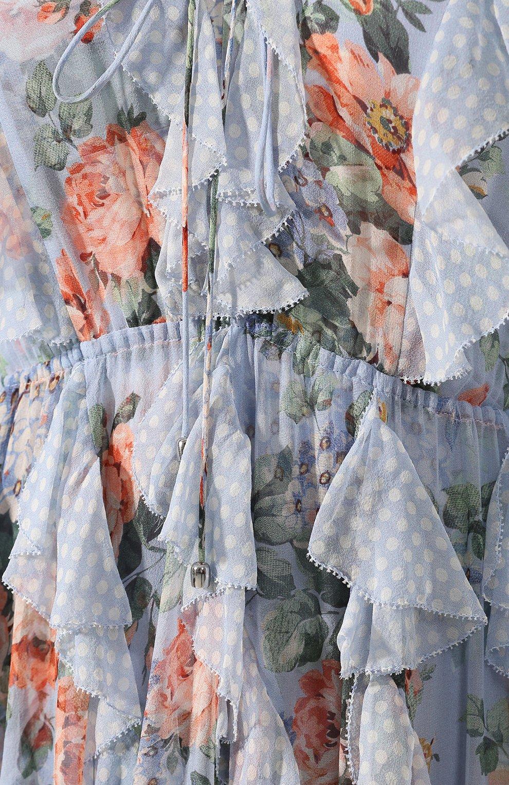 Шелковое платье Zimmermann голубое | Фото №5