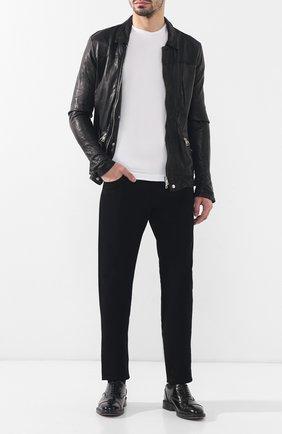 Мужская кожаная куртка GIORGIO BRATO черного цвета, арт. GU19S9006BISV   Фото 2 (Длина (верхняя одежда): Короткие; Рукава: Длинные; Мужское Кросс-КТ: Куртка-верхняя одежда, Кожа и замша, Верхняя одежда; Статус проверки: Проверено; Кросс-КТ: Куртка)