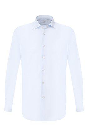 Мужская хлопковая рубашка воротником кент KITON голубого цвета, арт. UCIH0660002 | Фото 1