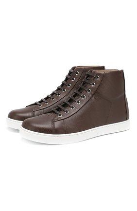 Мужские кожаные кеды GIANVITO ROSSI темно-коричневого цвета, арт. S28240.M1WHT.B0XEB0N | Фото 1