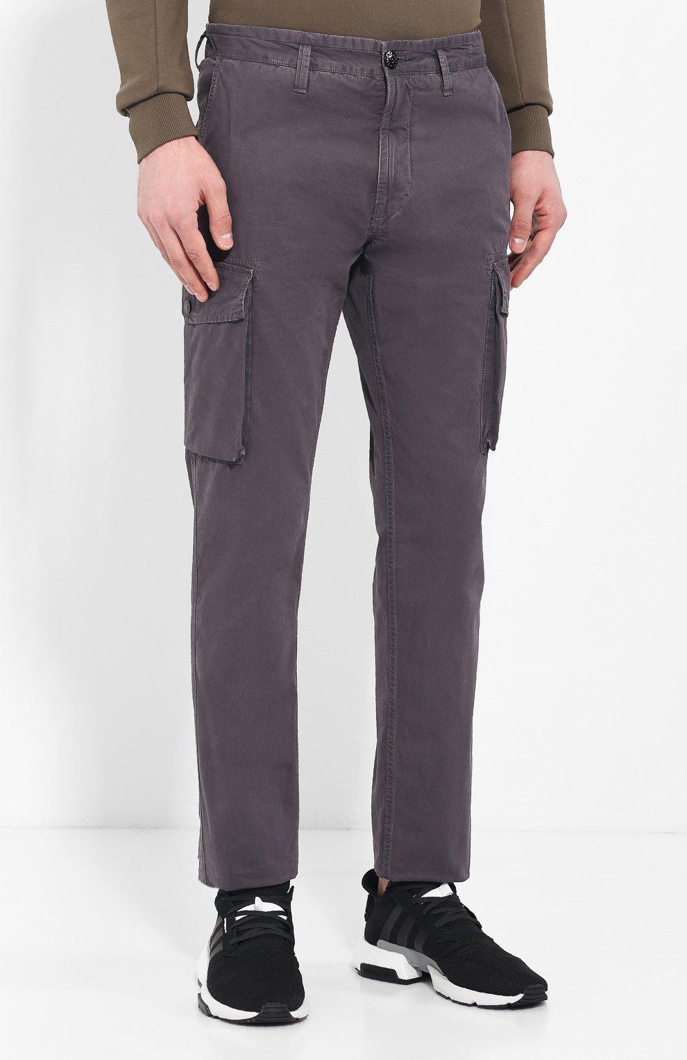 88c077edd62 Мужские серые хлопковые брюки карго STONE ISLAND — купить за 18250 ...