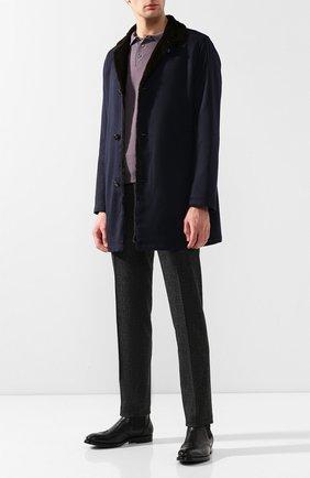 Мужской кашемировое пальто с меховой отделкой KITON темно-синего цвета, арт. UW0480/3R70 | Фото 2