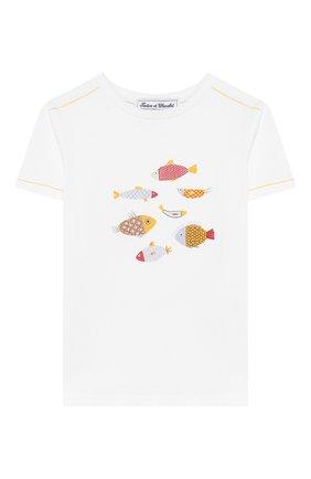 Детский хлопковая футболка TARTINE ET CHOCOLAT белого цвета, арт. TN10101/4A-6A | Фото 1
