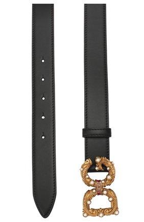 Женский кожаный ремень DOLCE & GABBANA черного цвета, арт. BE1335/AK133   Фото 2