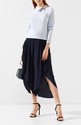 Женский кашемировый пуловер GIORGIO ARMANI голубого цвета, арт. 3GAM02/AM11Z | Фото 2 (Материал внешний: Кашемир, Шерсть; Длина (для топов): Стандартные; Рукава: Длинные; Статус проверки: Проверена категория, Проверено; Женское Кросс-КТ: Пуловер-одежда)