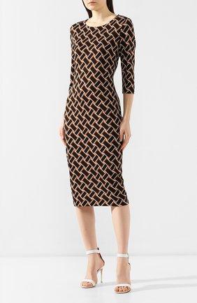 Шелковое платье с принтом Diane Von Furstenberg разноцветное | Фото №3