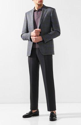 Мужское поло из смеси шерсти и кашемира BRUNELLO CUCINELLI сиреневого цвета, арт. M24800805 | Фото 2