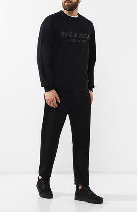 Мужской хлопковый свитшот RAG&BONE черного цвета, арт. M286T85U3 | Фото 2