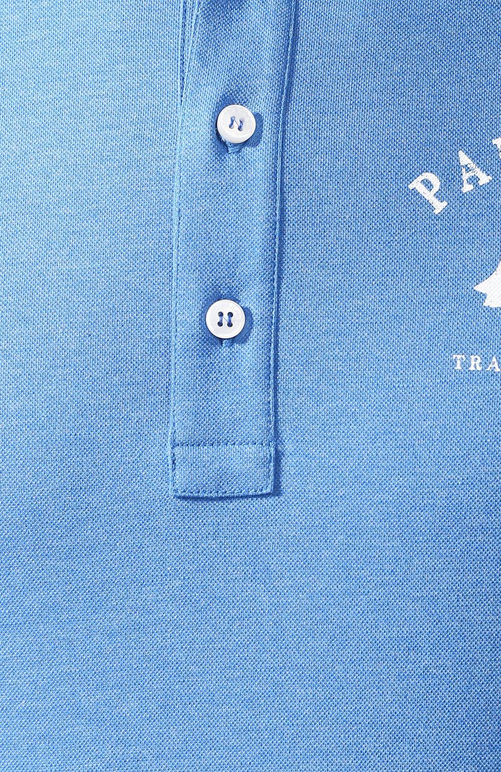 Хлопковое поло  Paul&Shark голубое | Фото №5