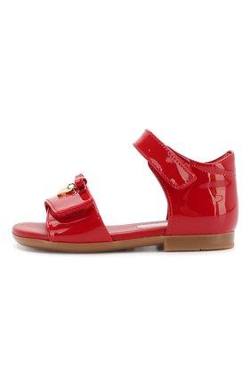 Детские кожаные босоножки DOLCE & GABBANA красного цвета, арт. D20045/A1328 | Фото 2