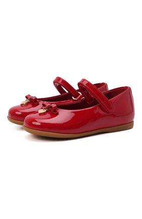 Детские балетки из лаковой кожи DOLCE & GABBANA красного цвета, арт. D20057/A1328 | Фото 1