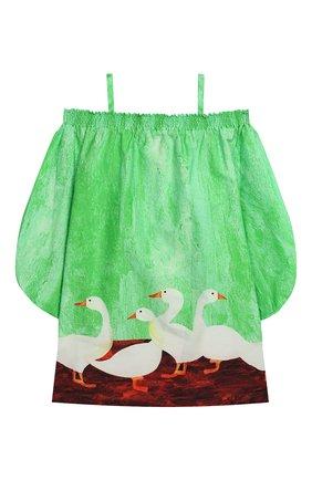 Детское хлопковое платье на бретельках STELLA JEAN KIDS зеленого цвета, арт. J/JF/AB02/0361/8A-14A   Фото 2