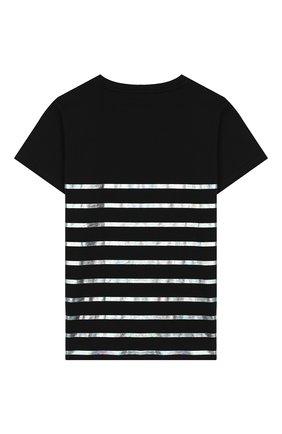 Детская хлопковая футболка BALMAIN черного цвета, арт. 6K8541/KX080/4-10 | Фото 2