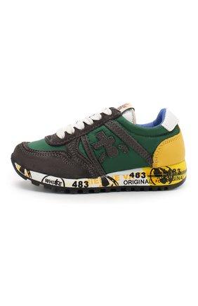 Детские кроссовки из кожи и текстиля PREMIATA WILL BE зеленого цвета, арт. SKY/1124/T0D   Фото 2