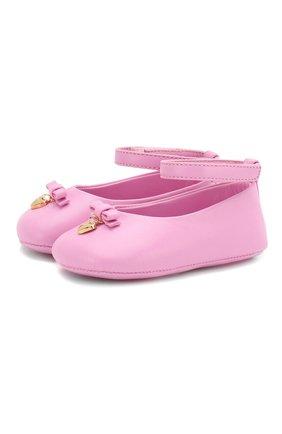 Детского кожаные пинетки DOLCE & GABBANA розового цвета, арт. DK0031/A1850 | Фото 1