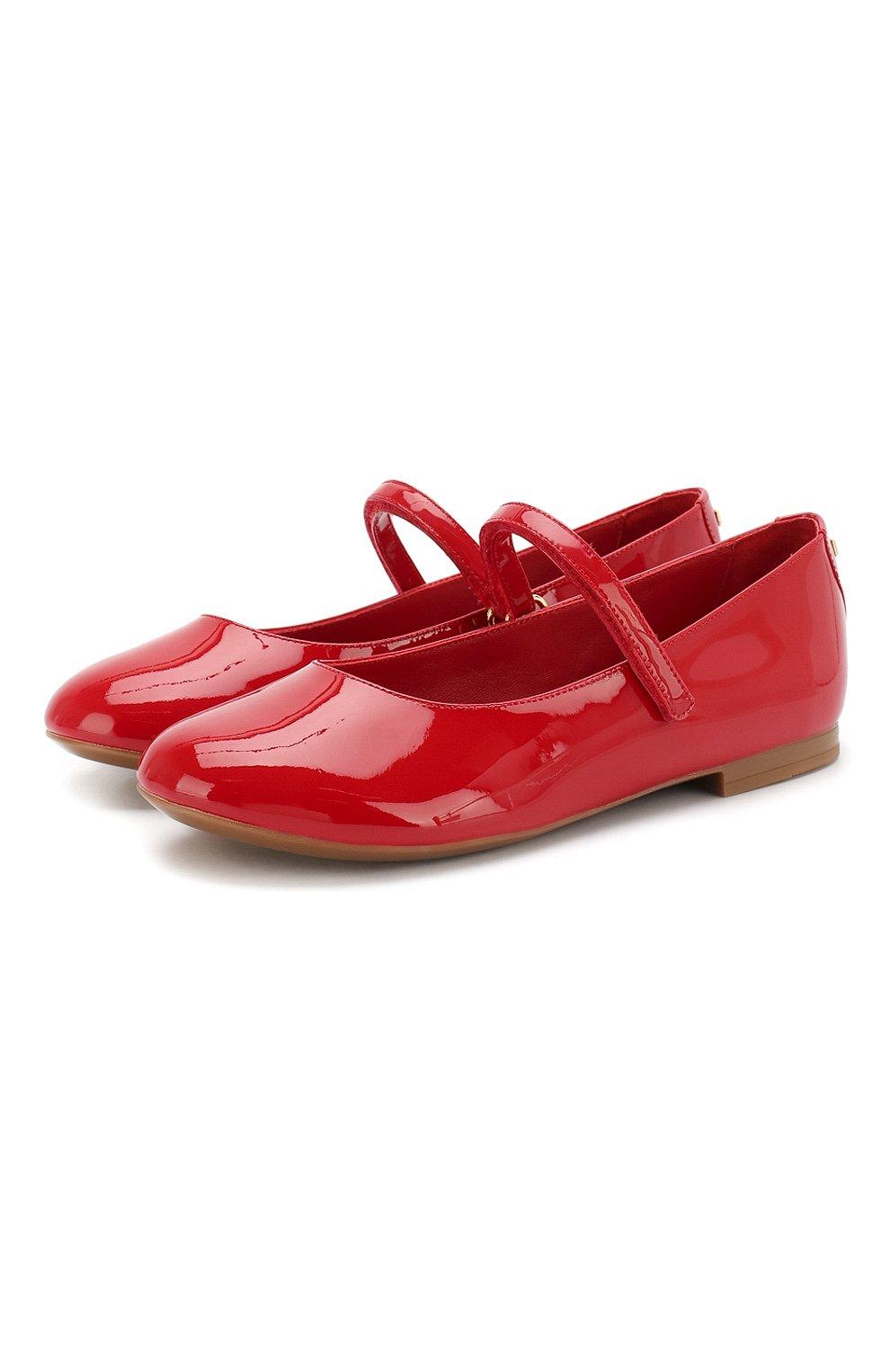 Детские балетки из лаковой кожи DOLCE & GABBANA красного цвета, арт. D10699/A1328/29-36 | Фото 1
