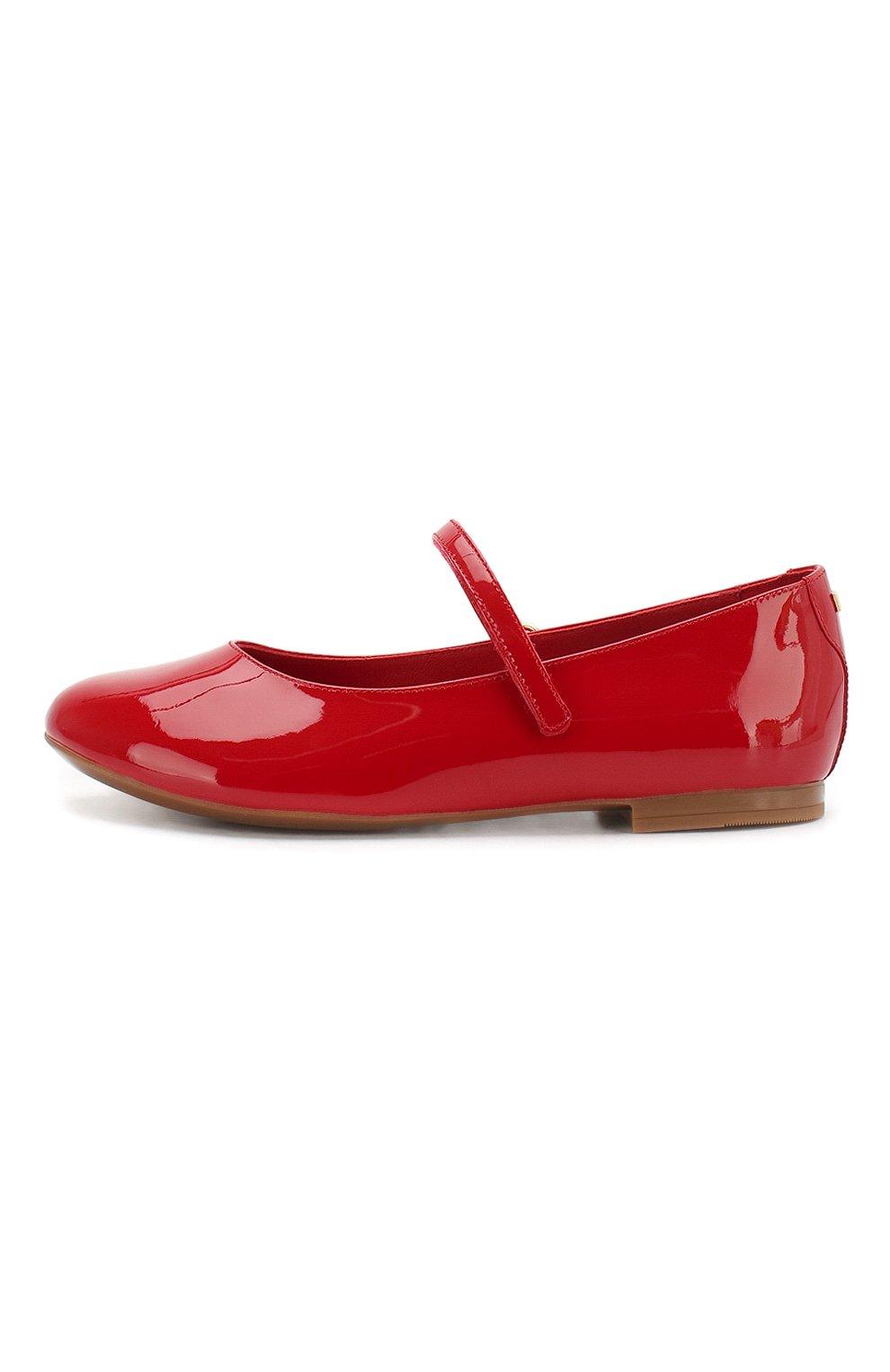 Детские балетки из лаковой кожи DOLCE & GABBANA красного цвета, арт. D10699/A1328/29-36 | Фото 2