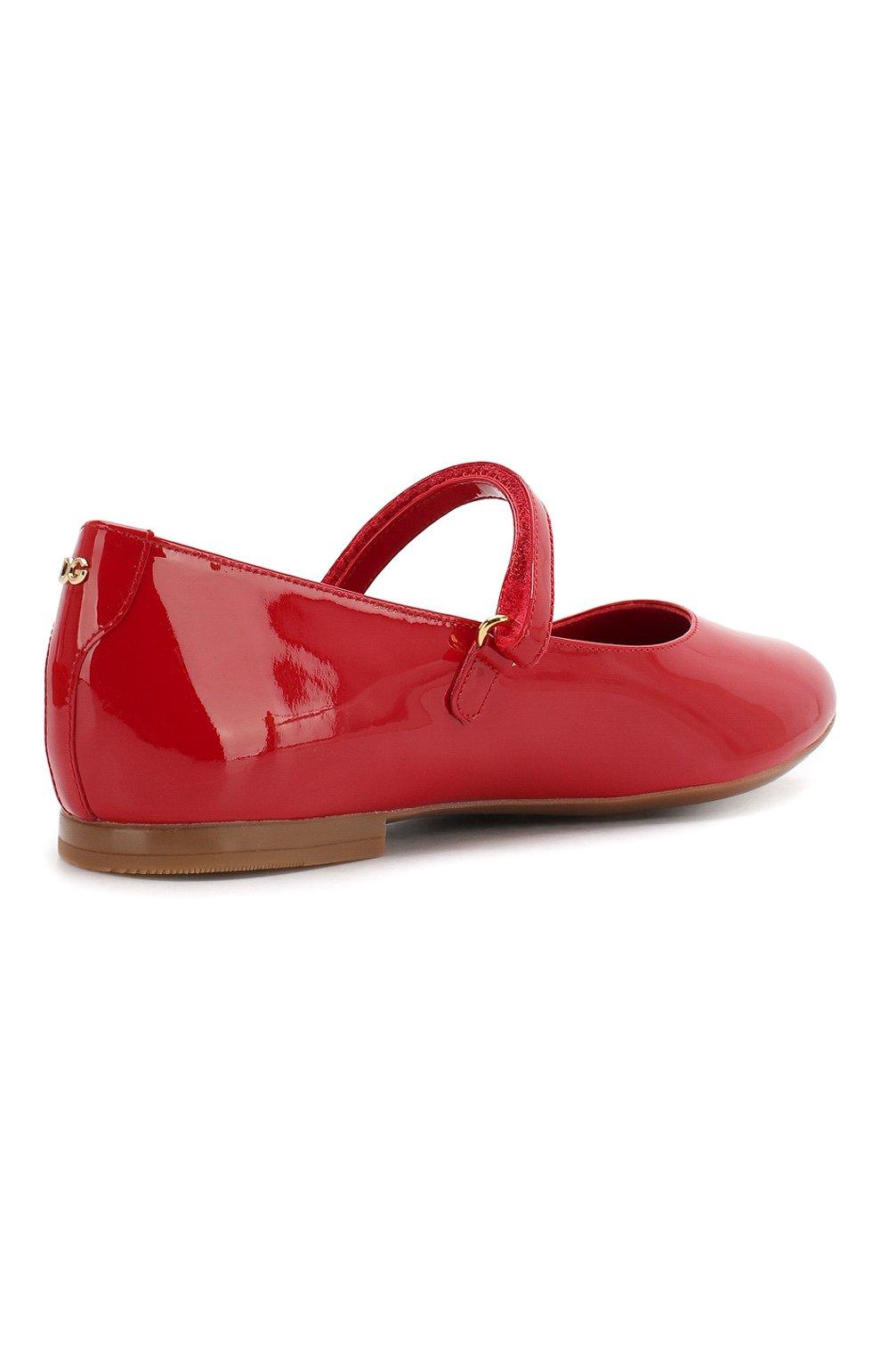 Детские балетки из лаковой кожи DOLCE & GABBANA красного цвета, арт. D10699/A1328/29-36 | Фото 3