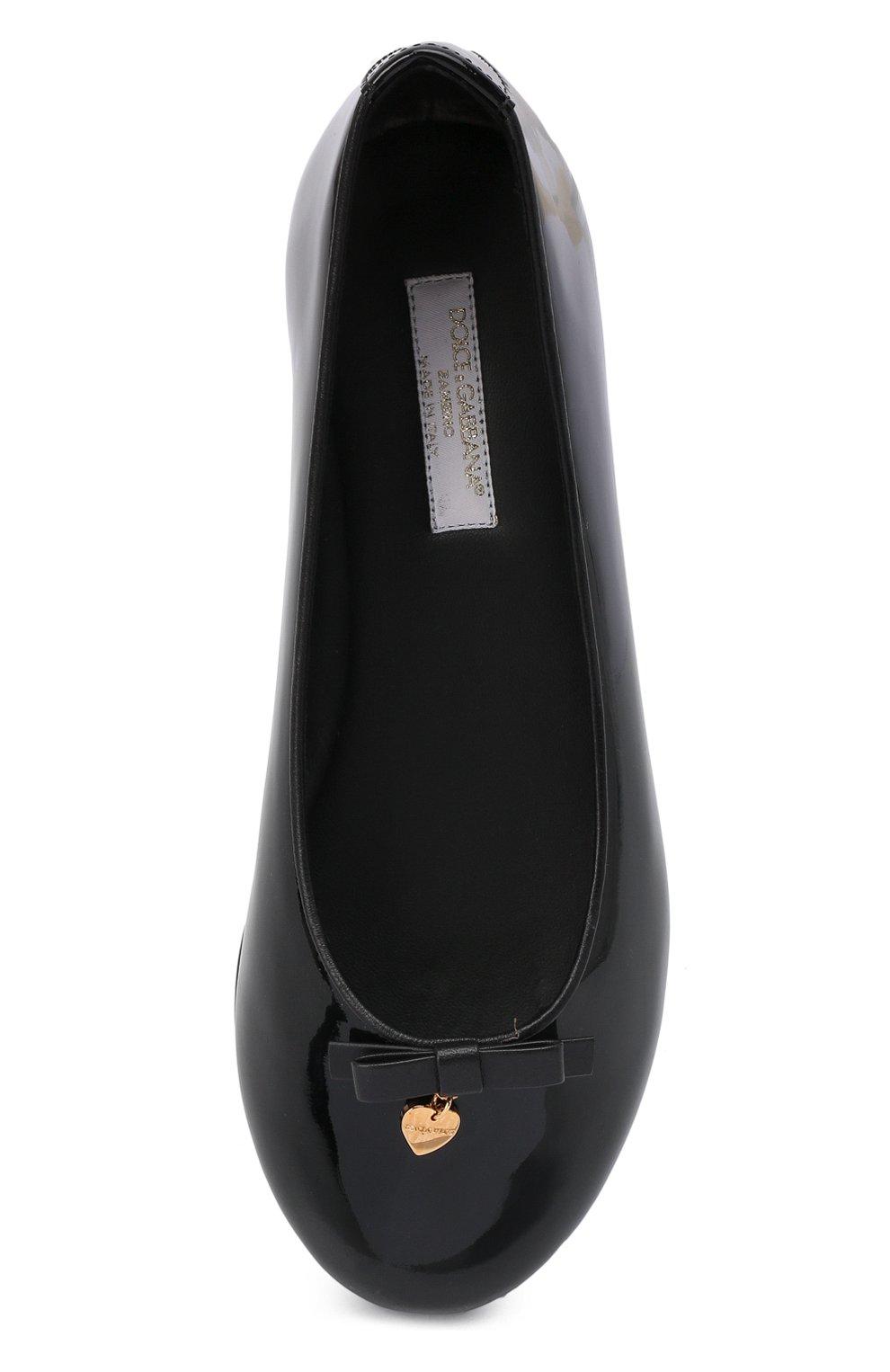 Детские кожаные балетки DOLCE & GABBANA черного цвета, арт. D10341/A1328/24-28 | Фото 4
