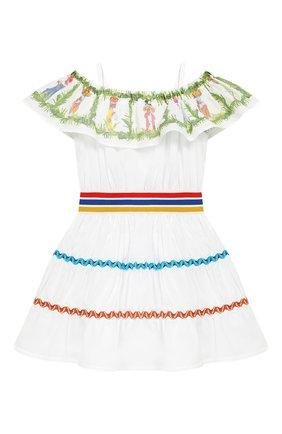 Детское хлопковое платье на бретельках STELLA JEAN KIDS белого цвета, арт. J/JF/AB26/0243/8A-14A   Фото 2