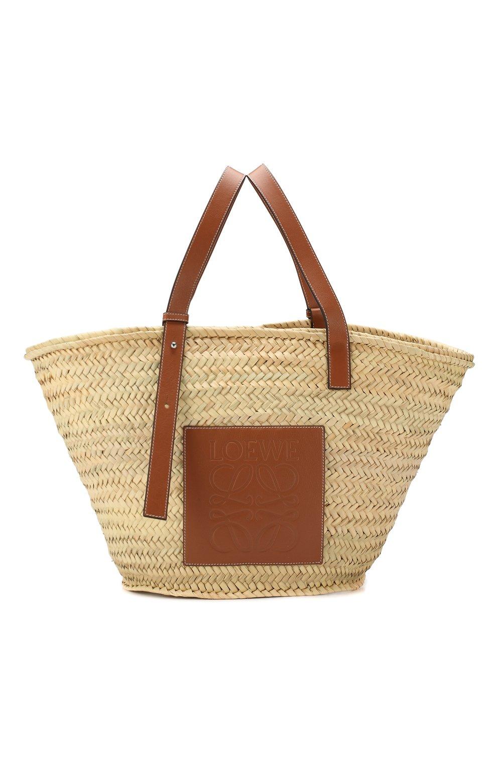 Женская сумка basket large LOEWE бежевого цвета, арт. 327.02.S81 | Фото 1