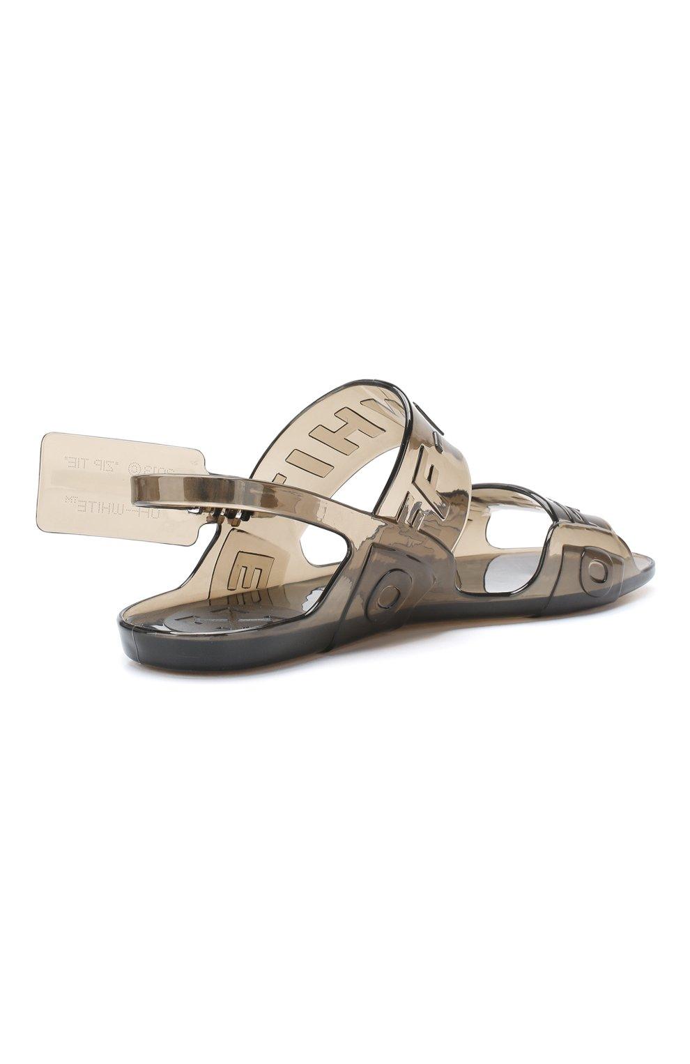 Резиновые сандалии Zip Tie Off-White черные | Фото №4
