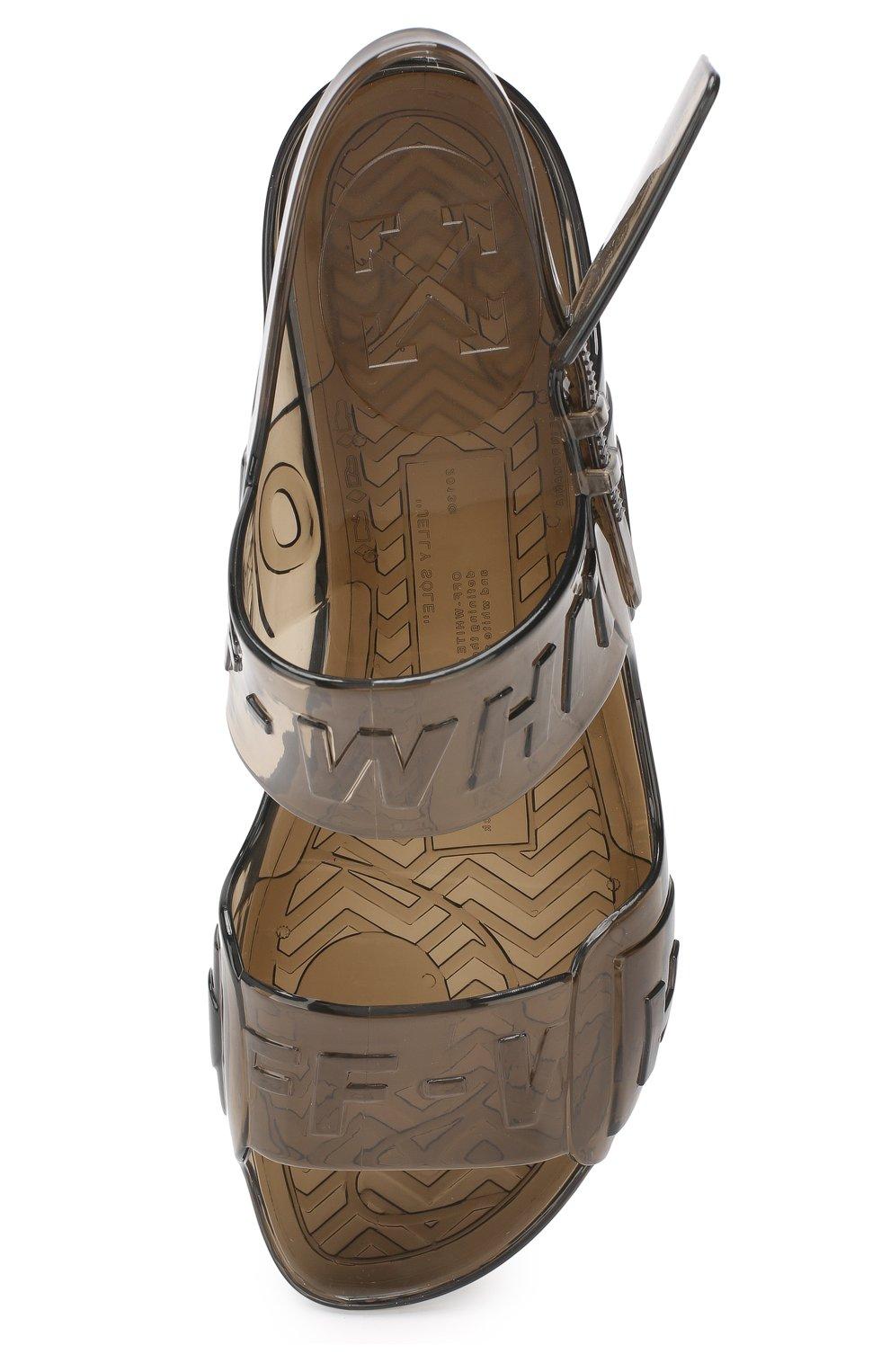 Резиновые сандалии Zip Tie Off-White черные | Фото №5