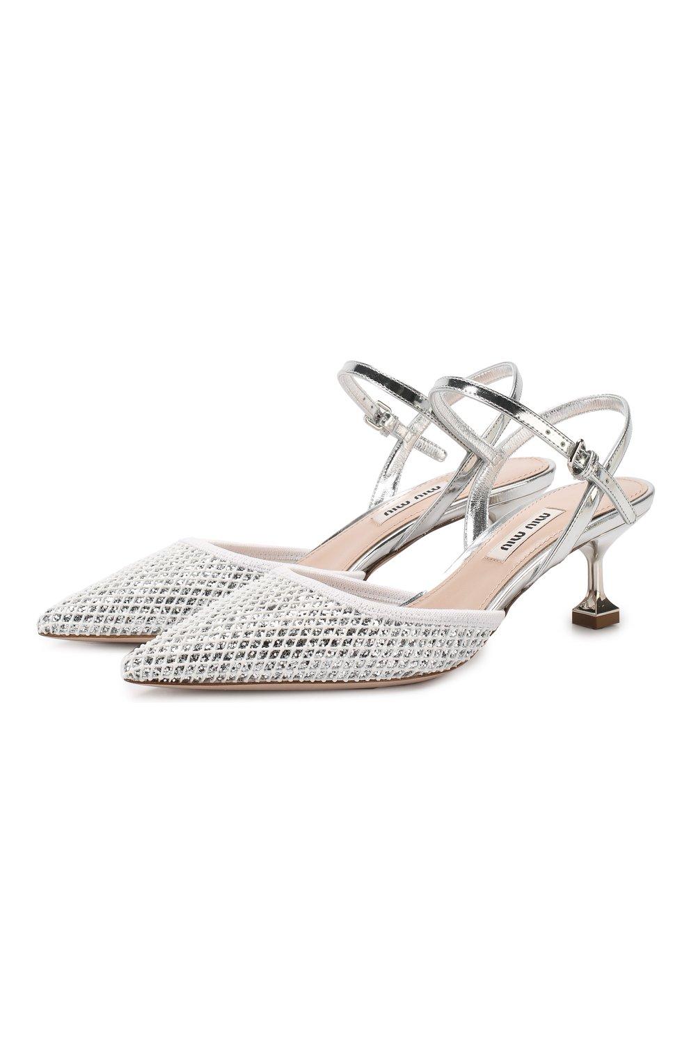 Комбинированные туфли Miu Miu серебряные | Фото №1