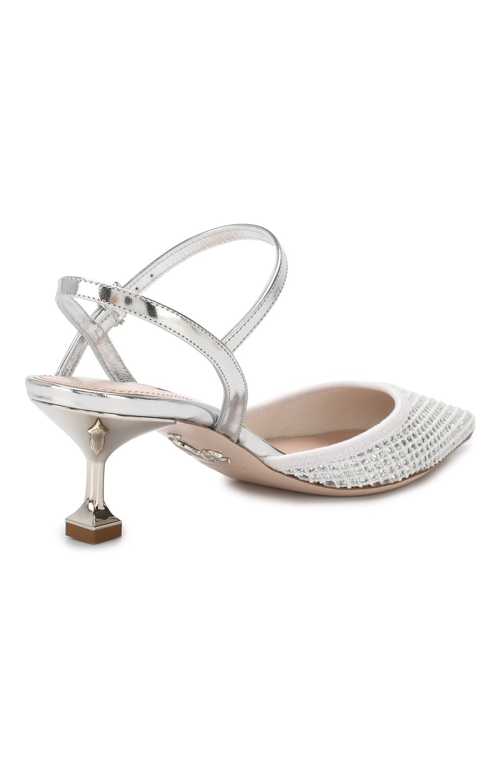 Комбинированные туфли Miu Miu серебряные | Фото №4