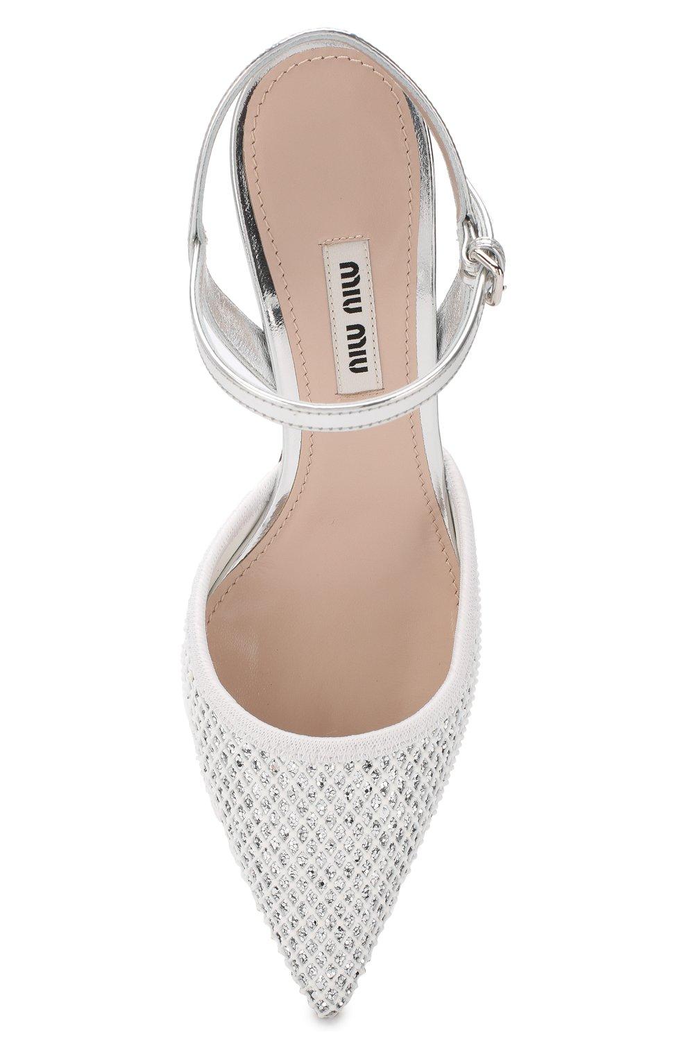 Комбинированные туфли Miu Miu серебряные | Фото №5