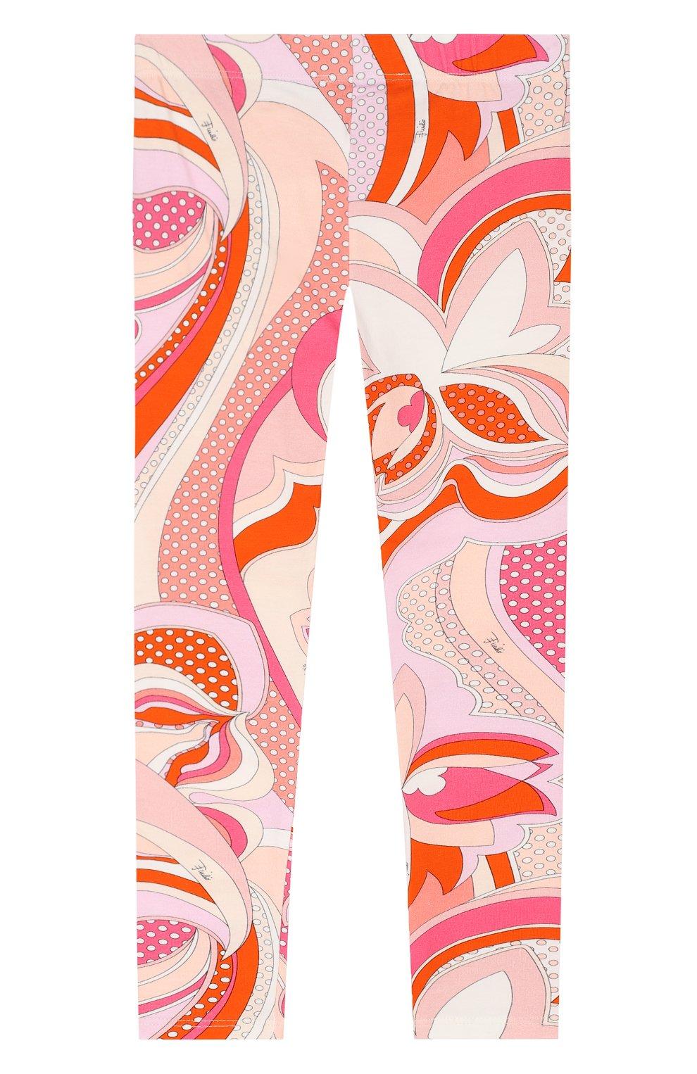 Детские хлопковые леггинсы Emilio Pucci оранжевого цвета   Фото №2