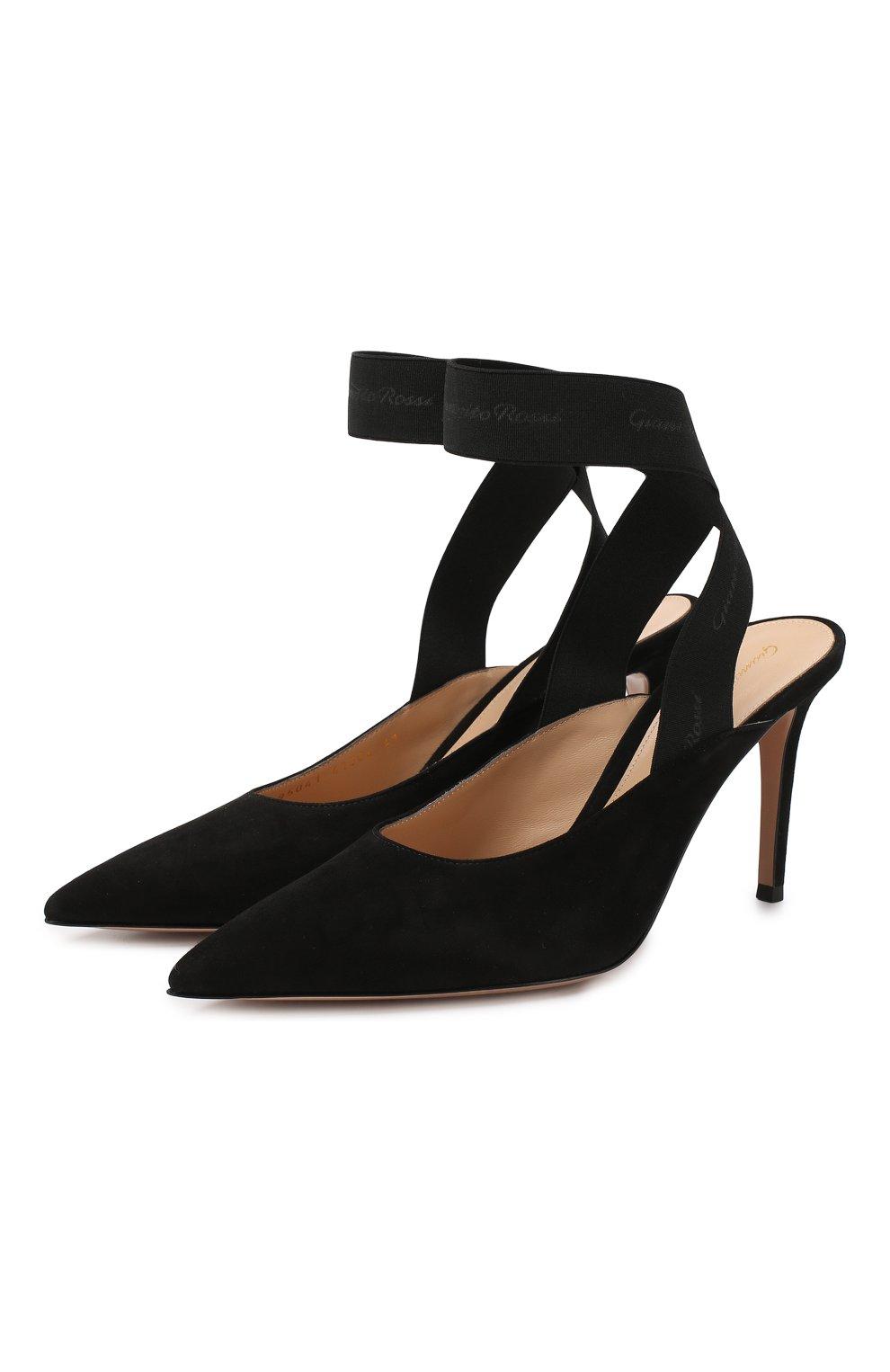 Замшевые туфли Delila 85 Gianvito Rossi черные   Фото №1